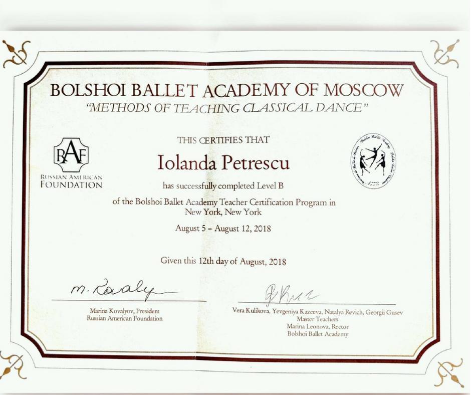 Iolanda Petrescu obtained Bolshoi Ballet Academy level B certificate