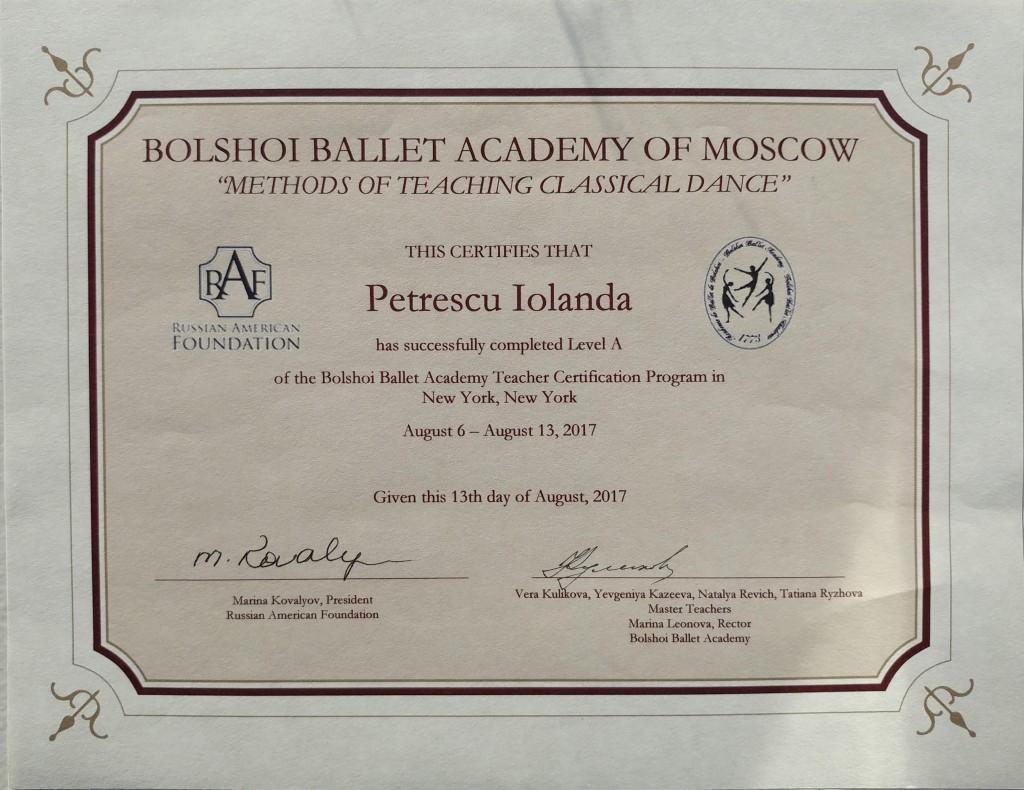 Iolanda Petrescu se reîntoarce la Bolshoi Ballet Academy pentru obținerea certificatului de profesor Level B